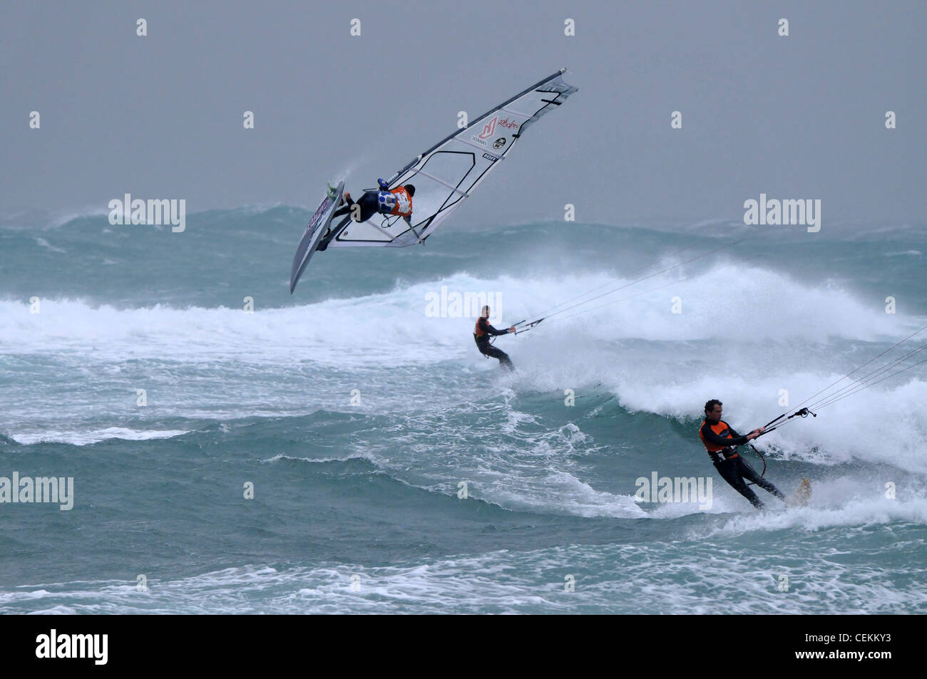Storm Rider 2012, The Israeli wind surfing Competition in Bat Galim, Haifa.February 17, 2012 . Photo by Shay Levy - Stock Image