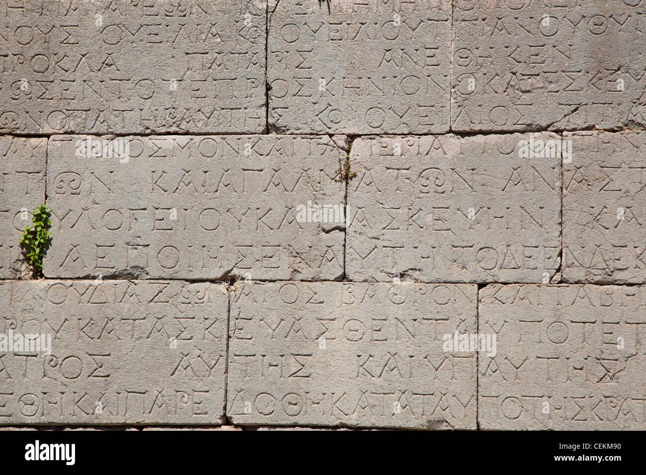 Turkey, Patara, Theater, Relief with Greek Script - Stock Image