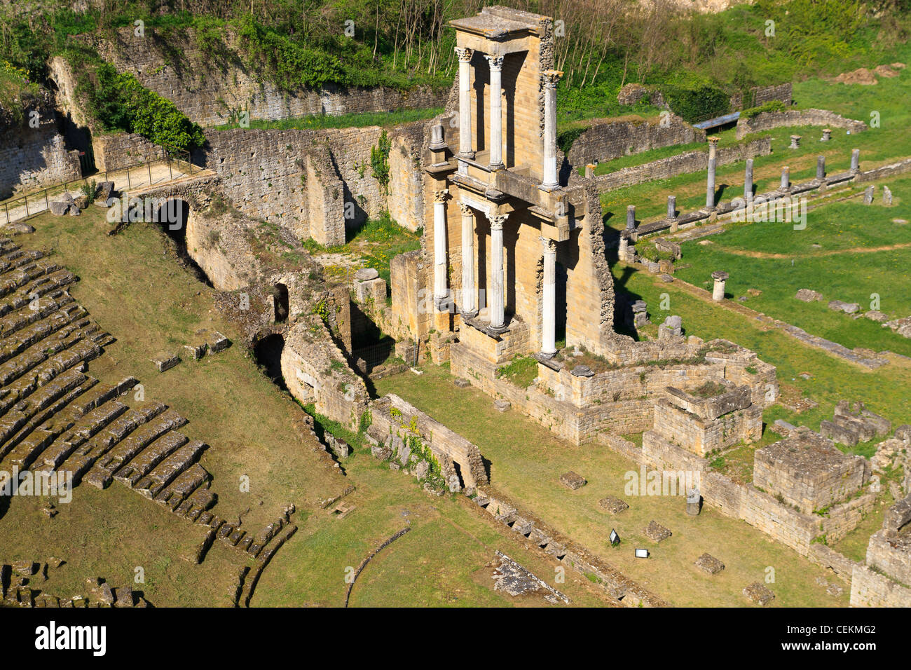 Remains of Roman Amphitheatre in Volterra, Tuscany, Italy - Stock Image