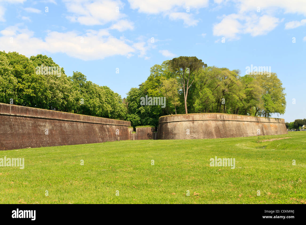 Lucca city wall fortifications in spring, Tuscany, Italy - Stock Image