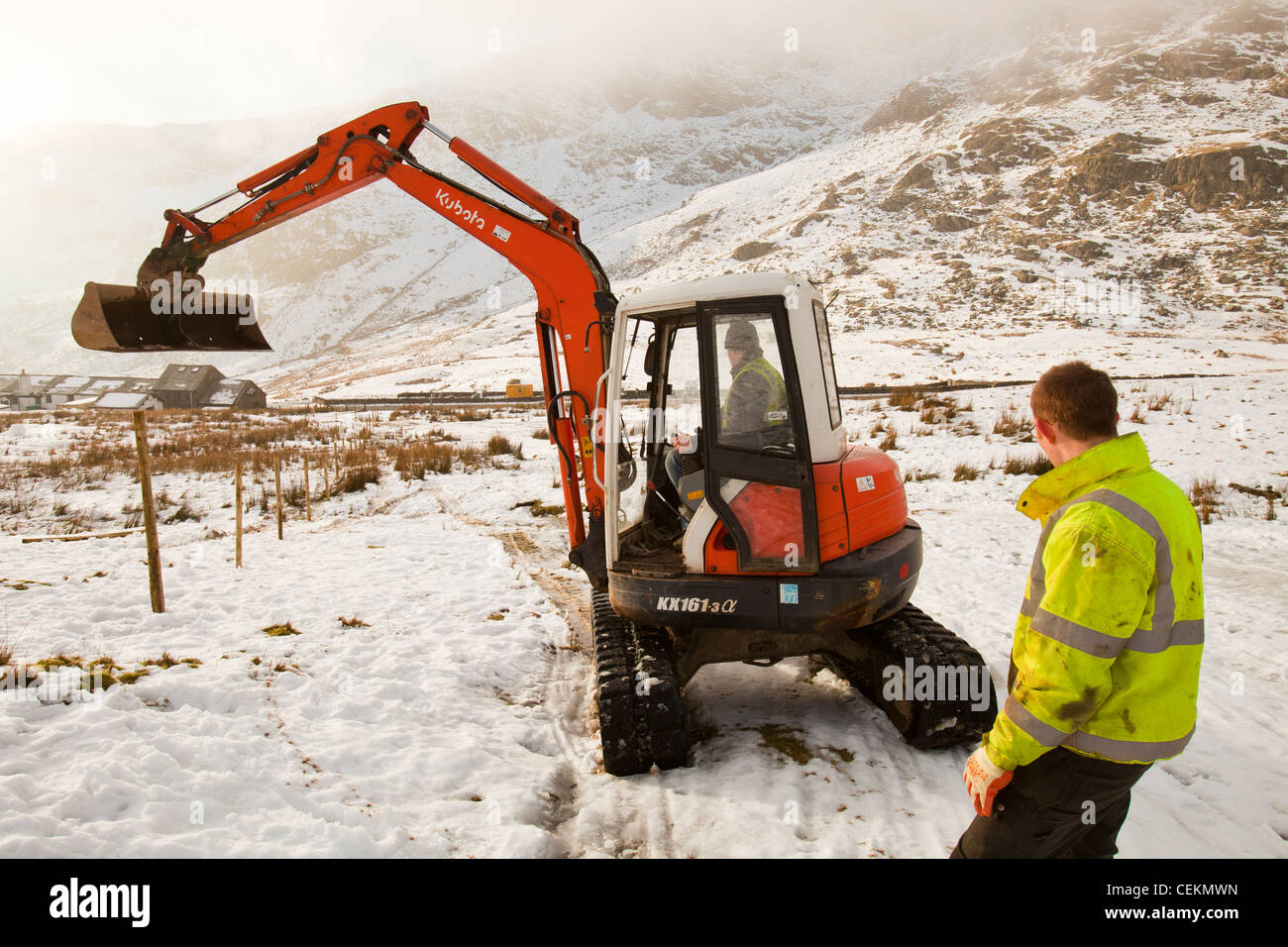 Mini Wind Turbine Stock Photos Images Alamy Kubota Kx1613 Wiring Diagram Workmen Start The Initial Groundworks For 3 Turbines To Be Constructed Behind Kirkstone Pass