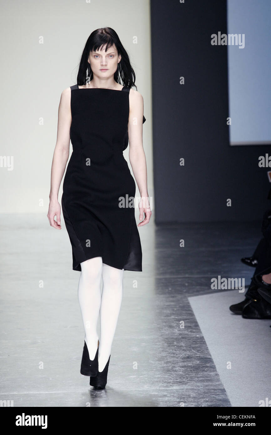 f4a8638a938e Gianfranco Ferre Milan Ready to Wear Autumn Winter Knee length black  pinafore dress, white tights