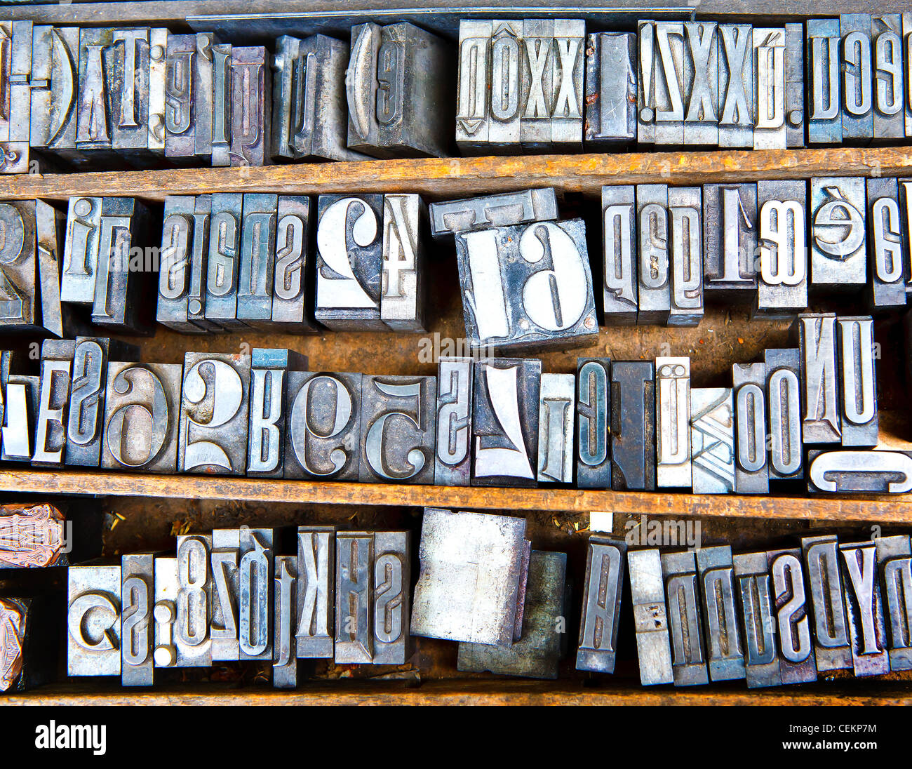 old metal fonts in wooden case, many letters - Stock Image