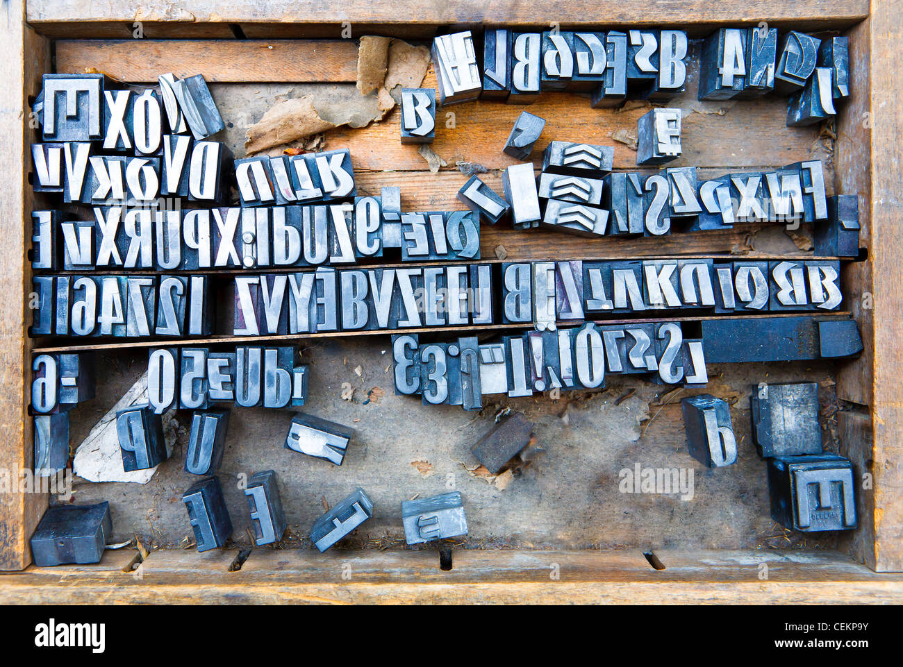 old steel fonts in wooden case, many letters - Stock Image
