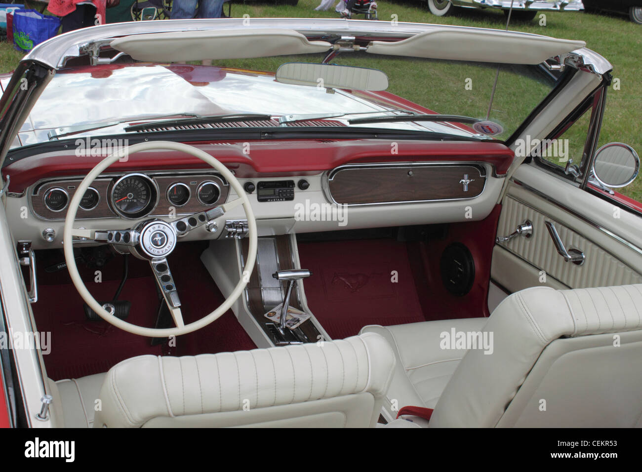 Interior of 1960s ford mustang at white waltham retro festival classic car rally 2011 stock