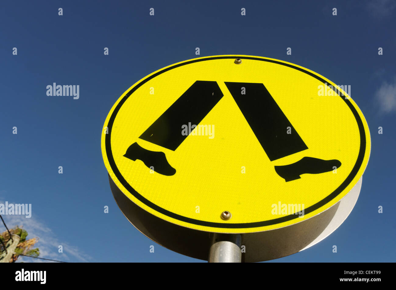An Australian pedestrian crossing sign - Stock Image