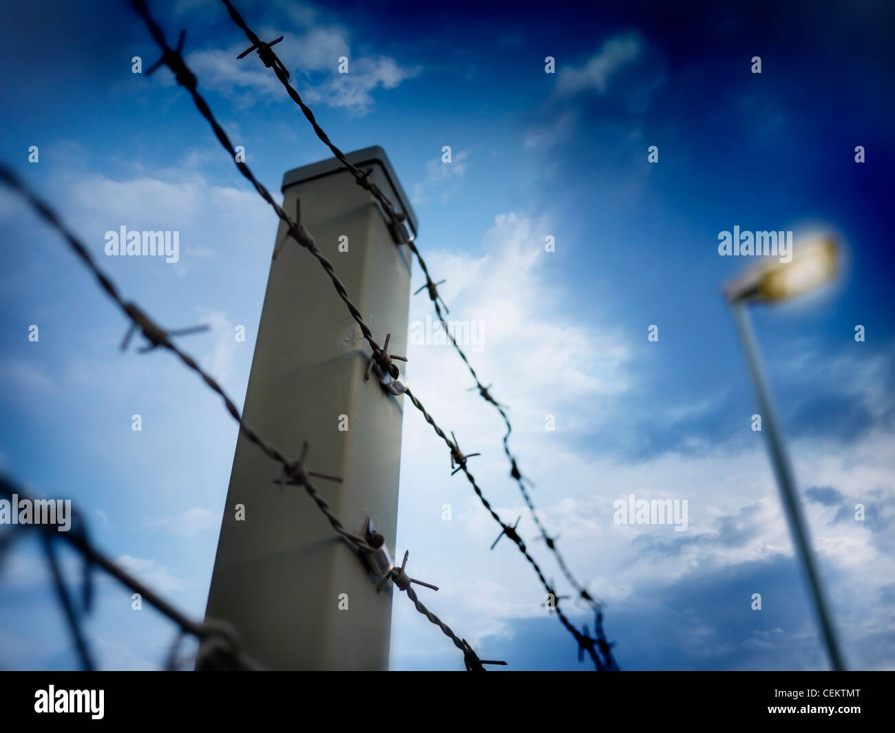 barbed wire against evening sky - Stock Image
