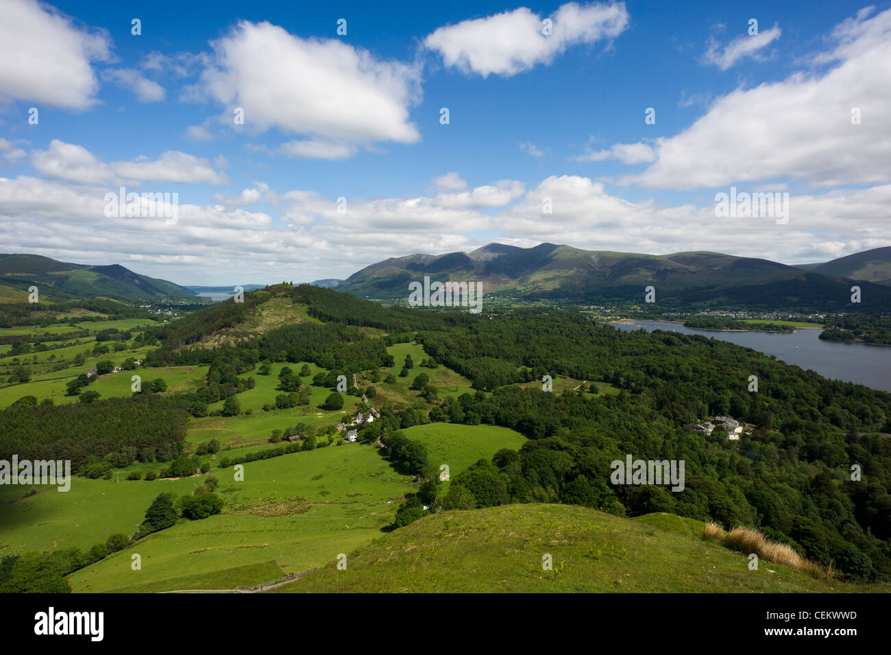 View of Derwent Water and Newlands Valley from the summit of Catbells, Lake District, UK - Stock Image