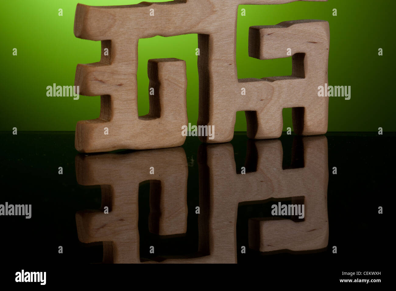 Latvian folklore sign with reflection - Stock Image
