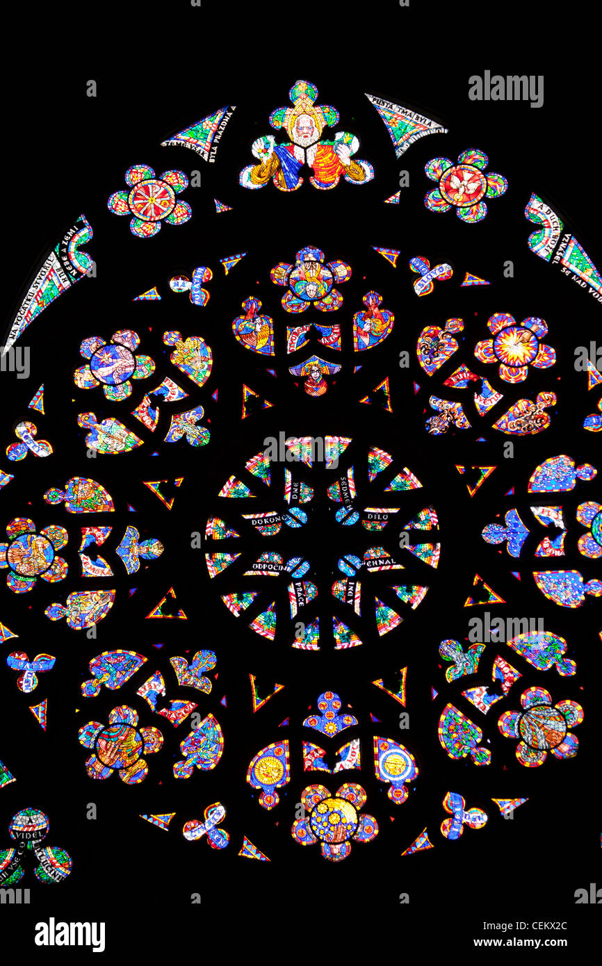 Prague, St. Vitus Cathedral, Western Frontispiece, Rose Window, Creation of the World - Stock Image