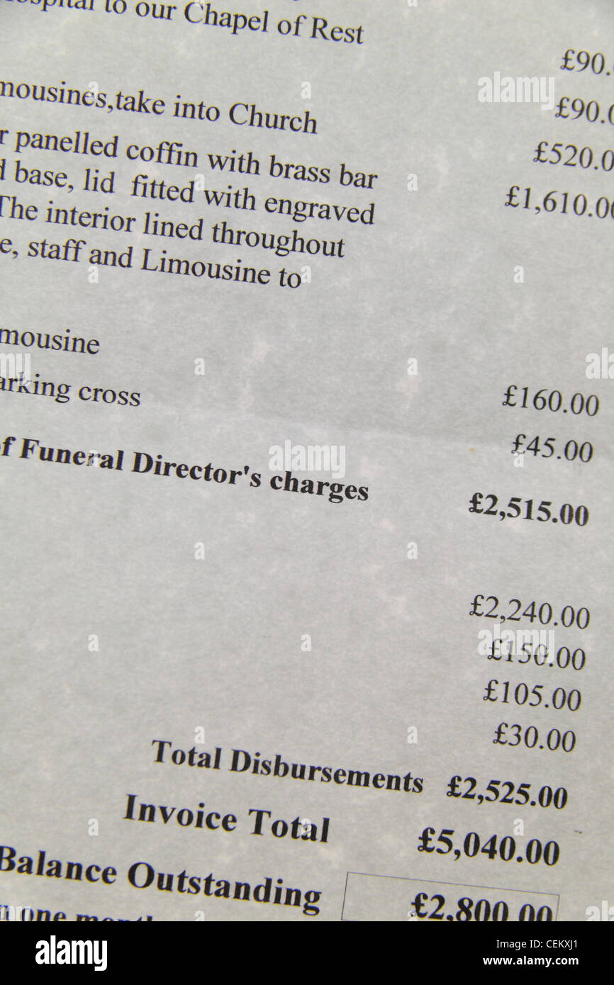 Close up of an invoice from a funeral directors for services rendered in London, UK. - Stock Image