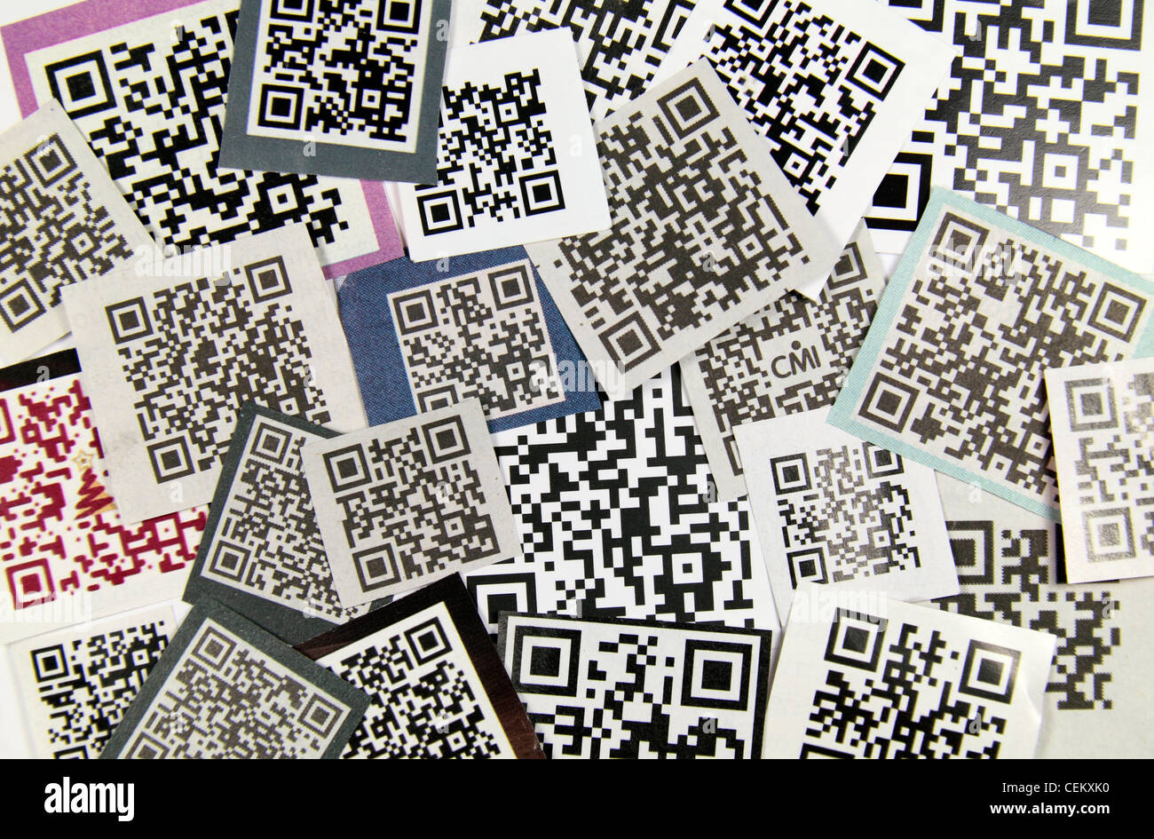 A selection of QR (Quick Response) smartphone codes taken from British newspapers and magazines in late 2011, early - Stock Image