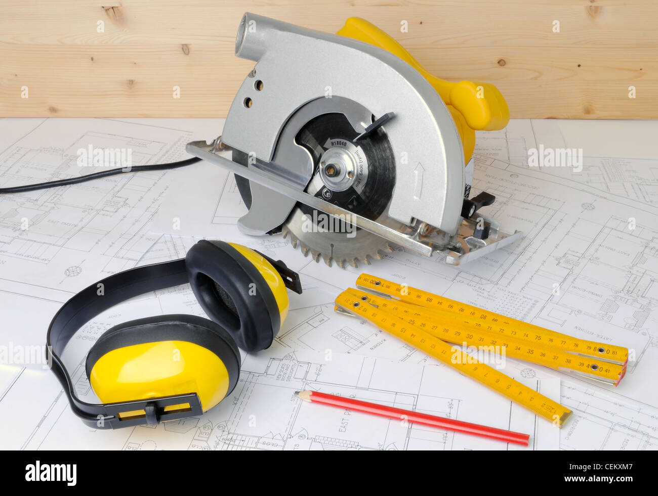 carpenter tools and construction plans - Stock Image