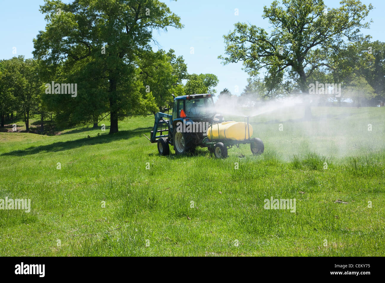 Spraying herbicide on a pasture used for grazing beef cattle. The herbicide is to control broadleaf weeds / Arkansas, - Stock Image