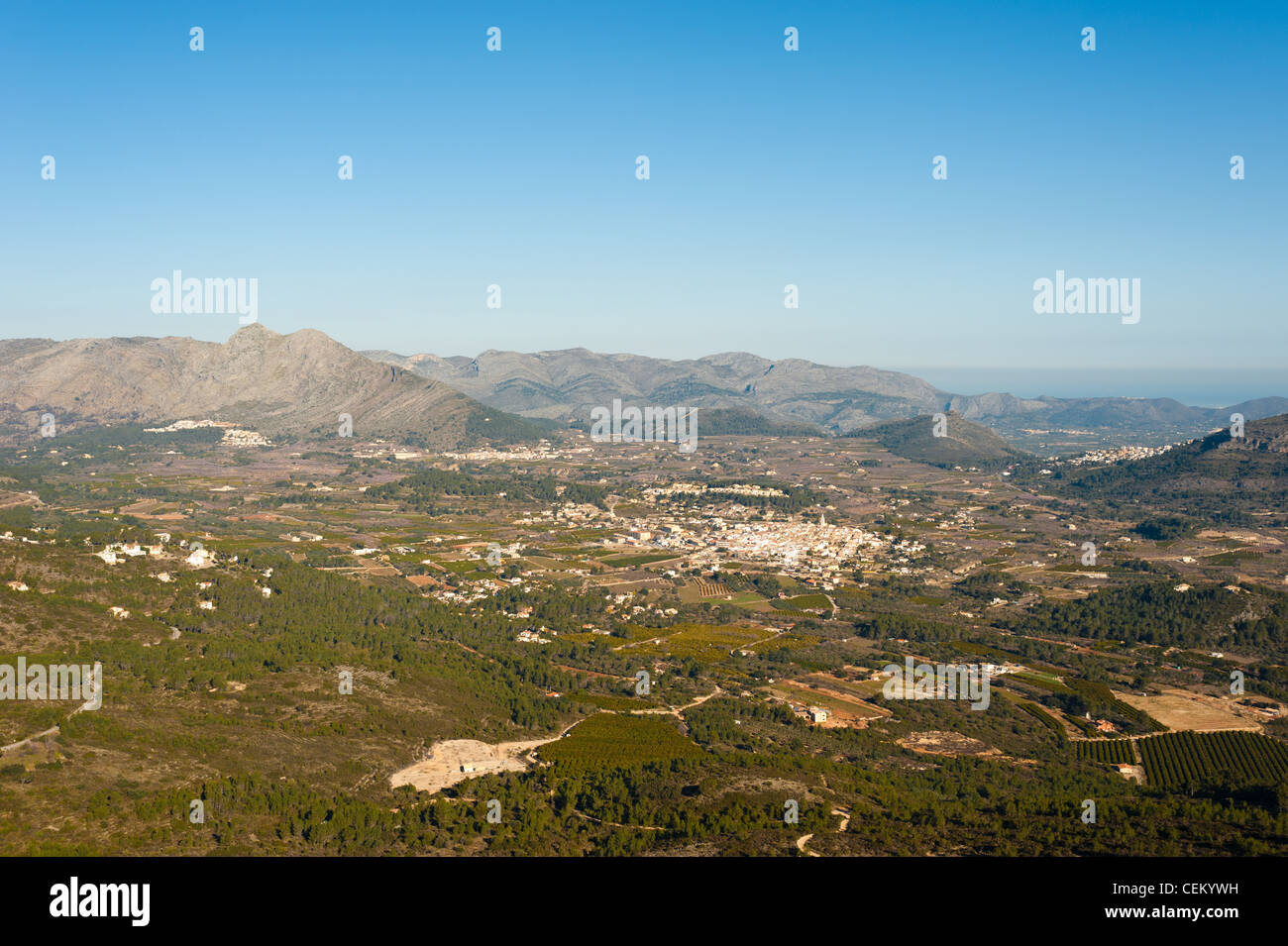 A lush valley in the heart of Marina Alta, Costa Blanca, Alicante, Spain - Stock Image