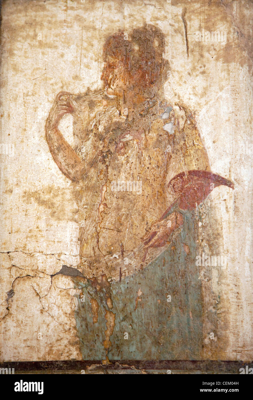 Italy, Naples, Naples Museum, Stabiae, Villa of Arianne, Triclinium 7, A Woman with Flabellum Stock Photo