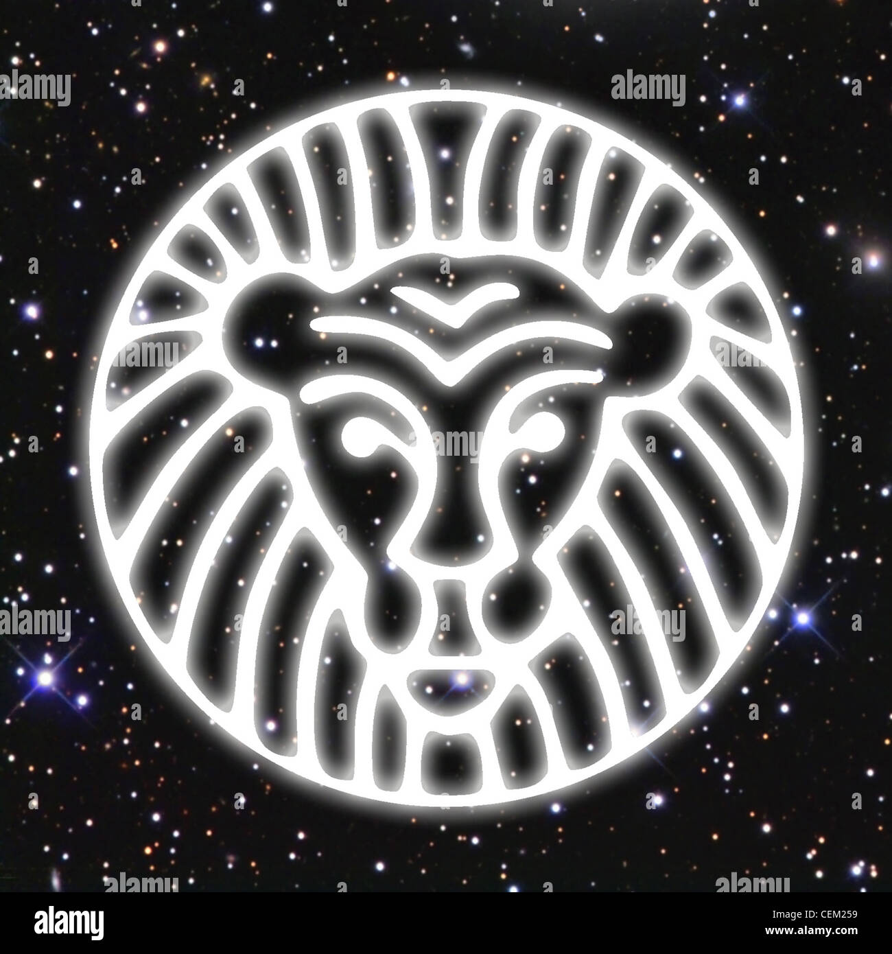 An illustration of a white line drawing of a lion's head, set against a background of space filled with stars - Stock Image