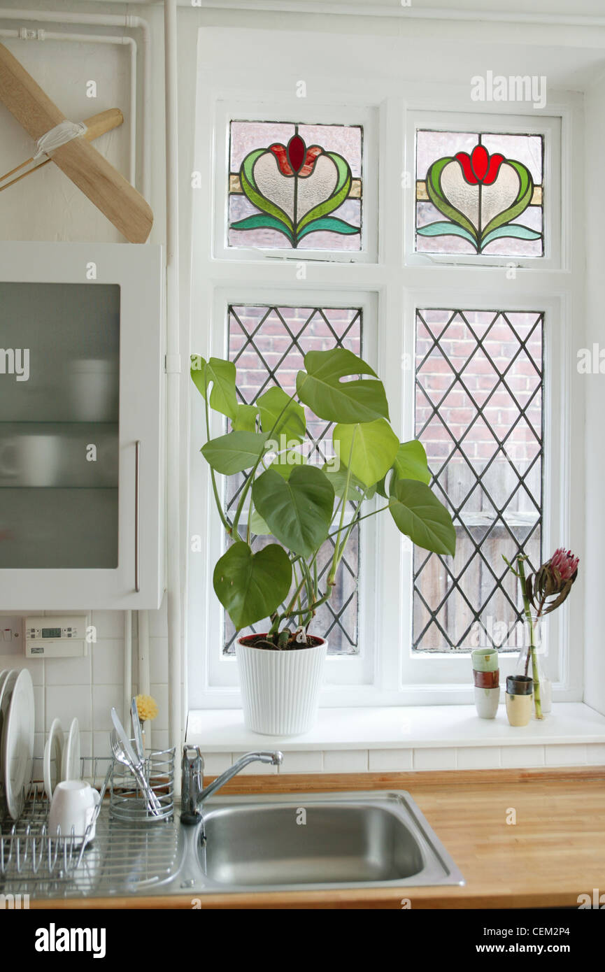 Attirant Renovated Flat Detail Image Of Kitchen Stained Glass Window, White Kitchen  Unit Glass Doon The Wall, White Tiles, Wood