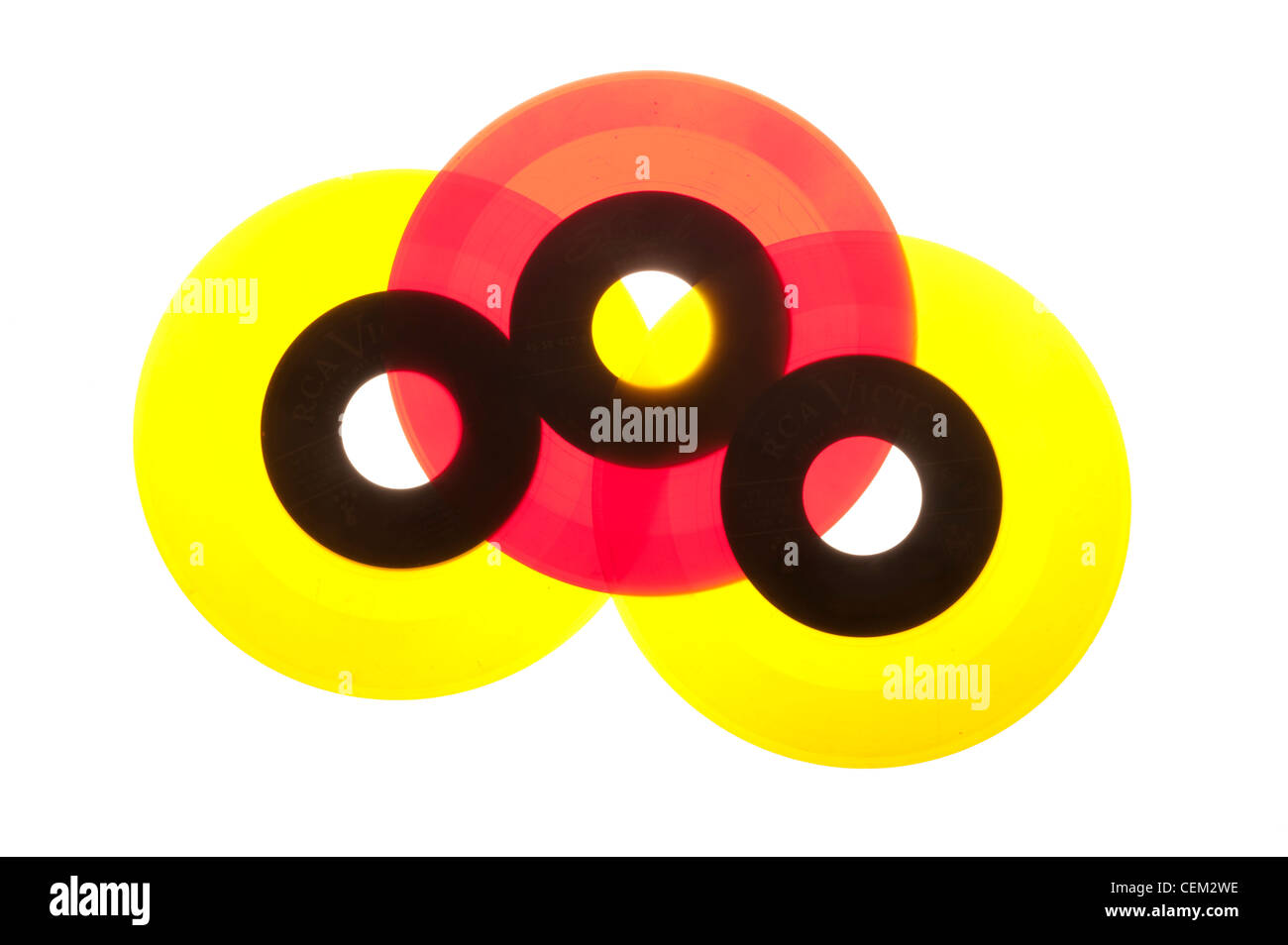 45 RPM records from the 1950's mid-century modern, Vinyl. - Stock Image