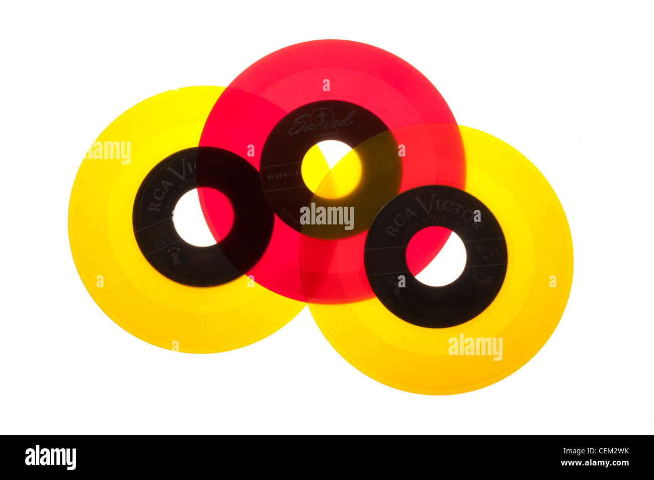 45 RPM records from the 1950's mid-century modern, Vinyl - Stock Image