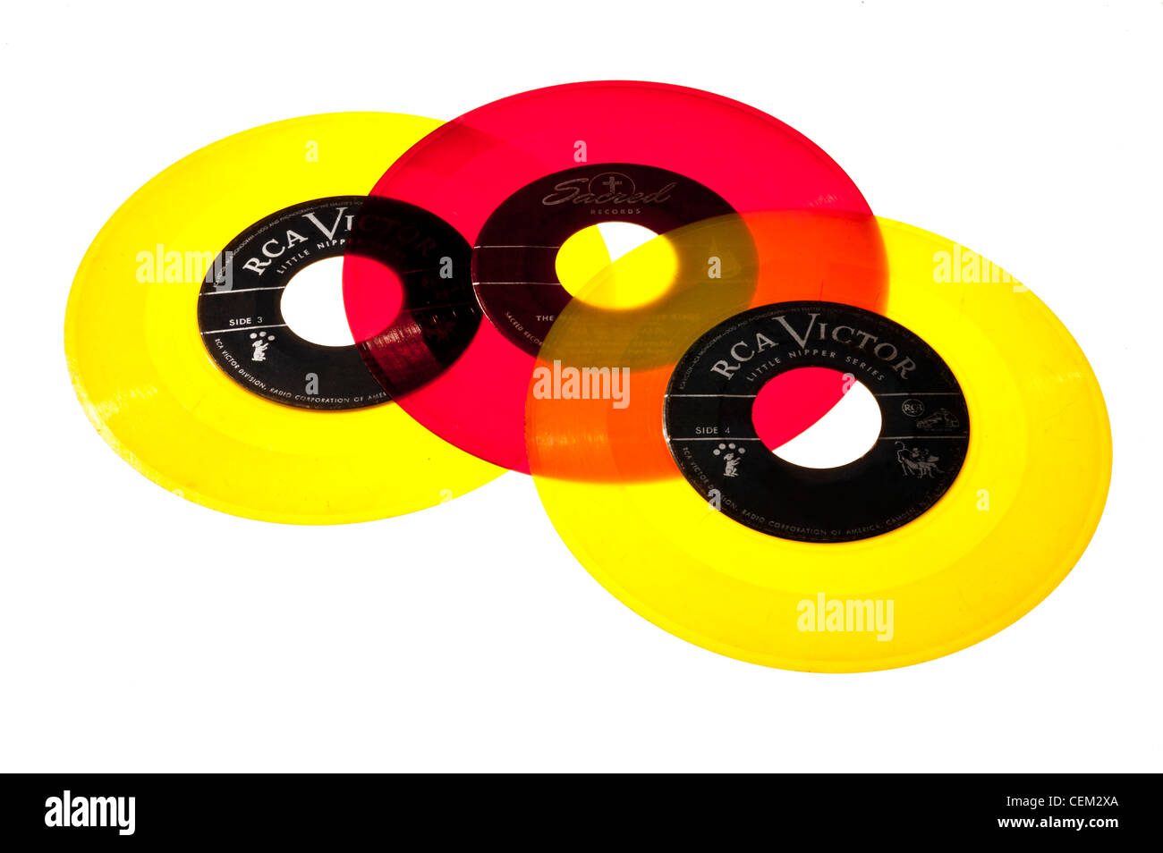 45 RPM records from the 1950's. mid-century modern, Vinyl - Stock Image
