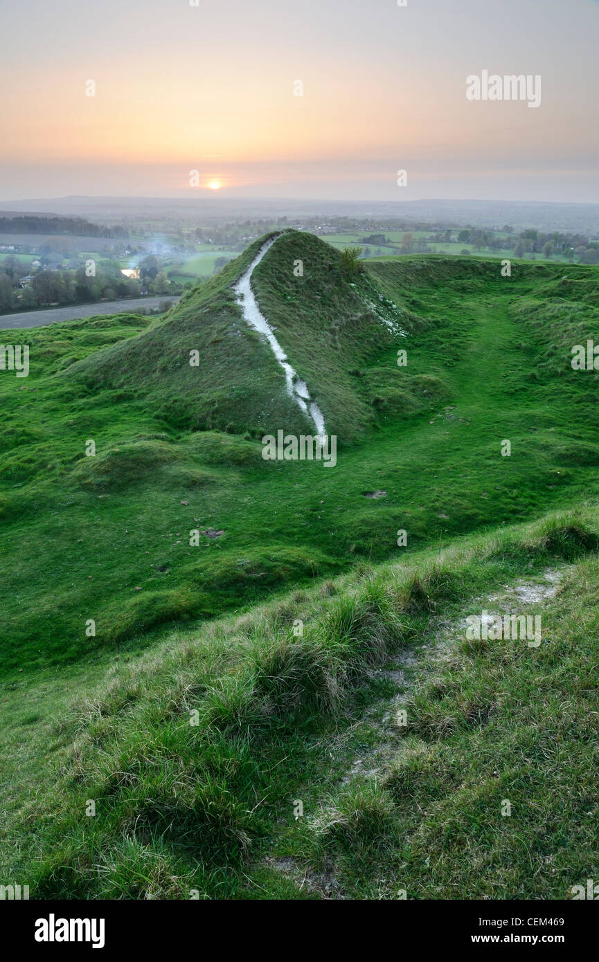 Footpath with views over countryside from the top of Cley Hill, Wiltshire, UK - Stock Image