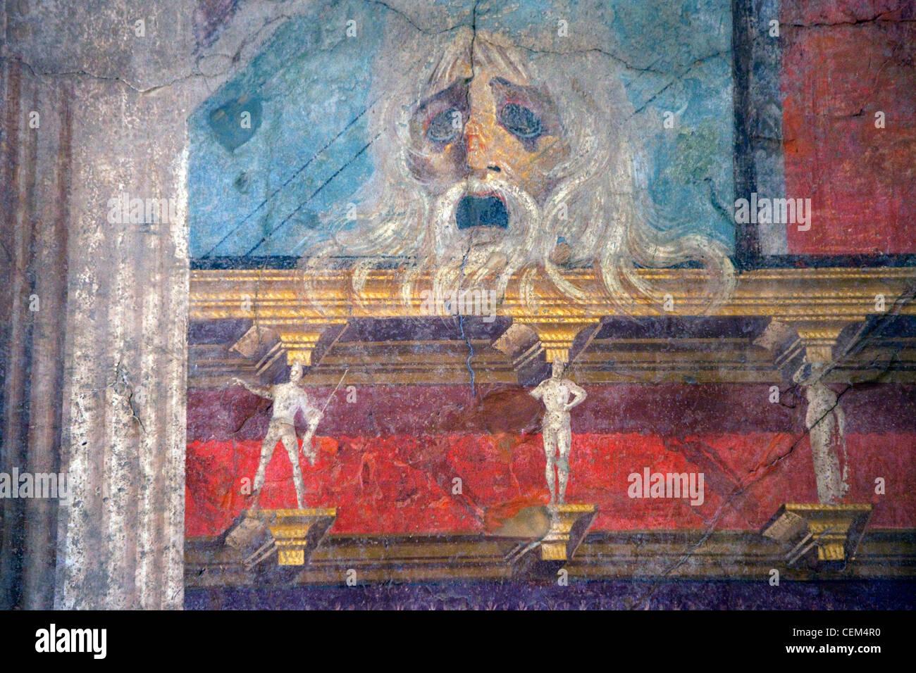 Italy, Naples, Naples Museum, Boscoreale, Villa of P.Fannius Sinistrex, Sanctuary Entrance, Fresco - Stock Image