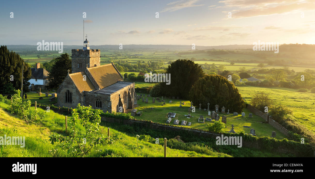 A panoramic view over the church and countryside in the village of Cucklington, Somerset, UK. - Stock Image