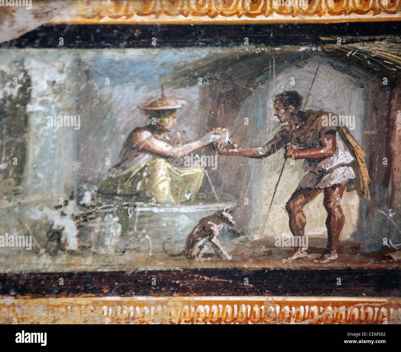 Italy, Naples, Naples Museum, from Pompeii, House of Diodcuri (VI 9, 6-7), Merchants - Stock Image