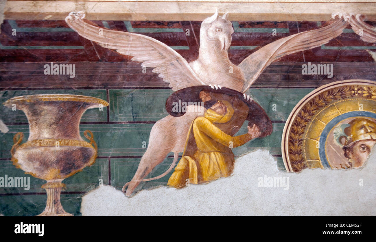 Italy, Naples Museum, from Pompeii, Villa of the Mysteries, cubiculum 2, Arimaspian and Gryphon - Stock Image