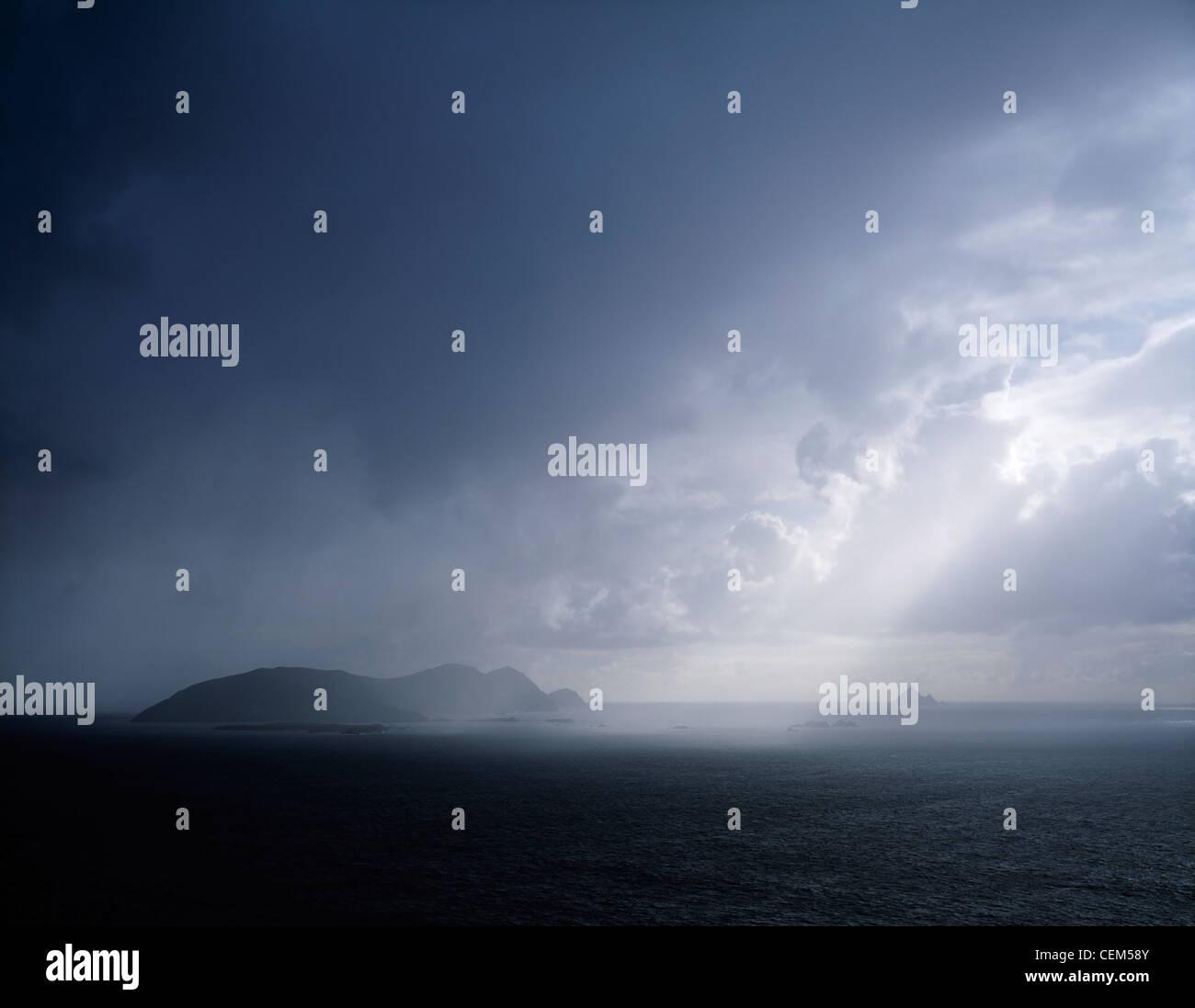 Rainclouds Over Blasket Islands, Co Kerry, Ireland - Stock Image