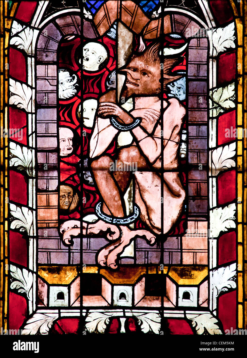 France, Alsace, Strasbourg, Strasbourg Cathedral, Stained Glass Window, Satan - Stock Image