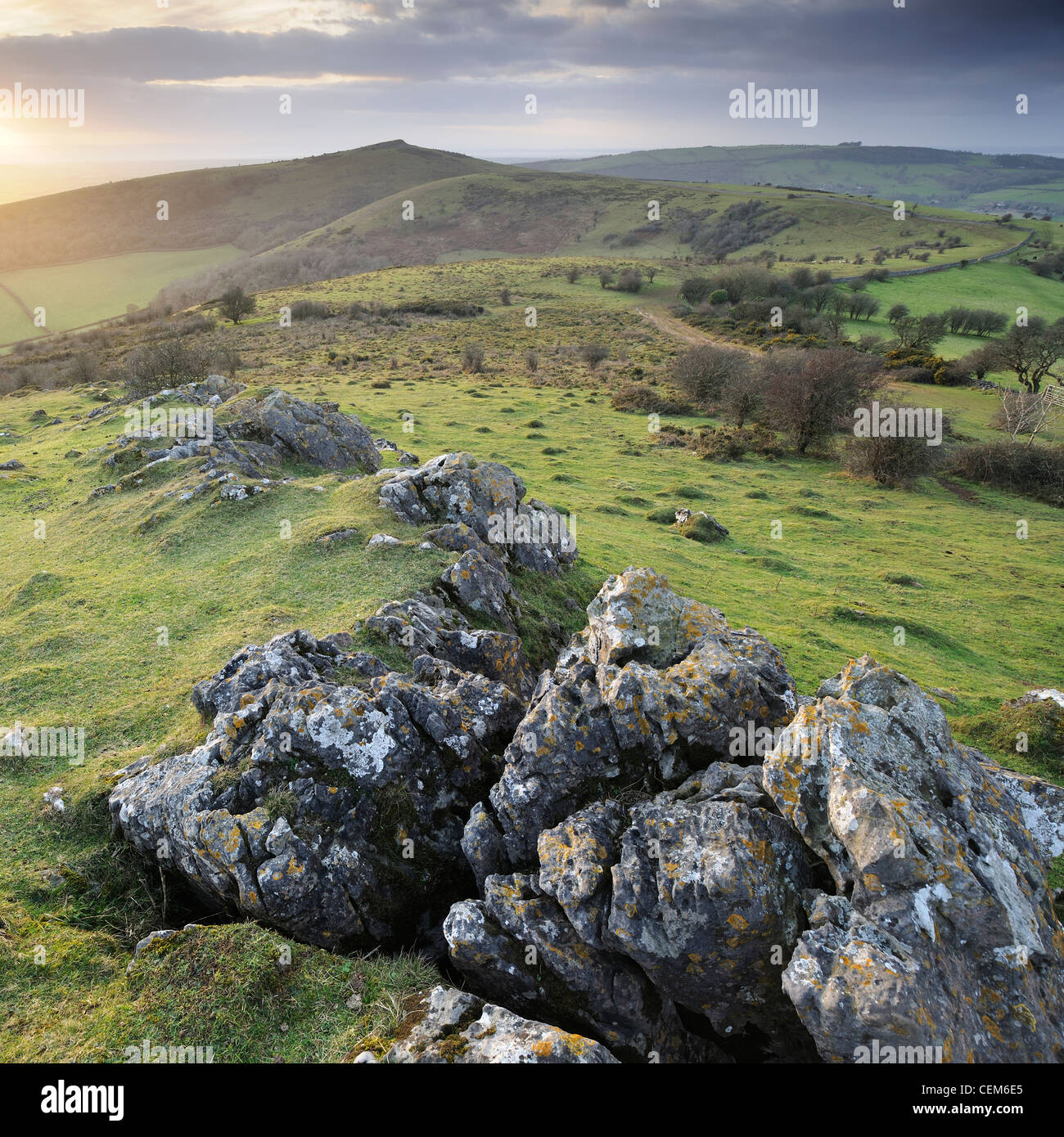 A dramatic view of Crook Peak from Wavering Down, Somerset, UK. - Stock Image