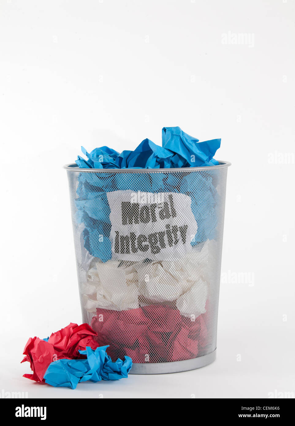 Moral integrity is a core value that shouldn't be wadded up and thrown away. - Stock Image