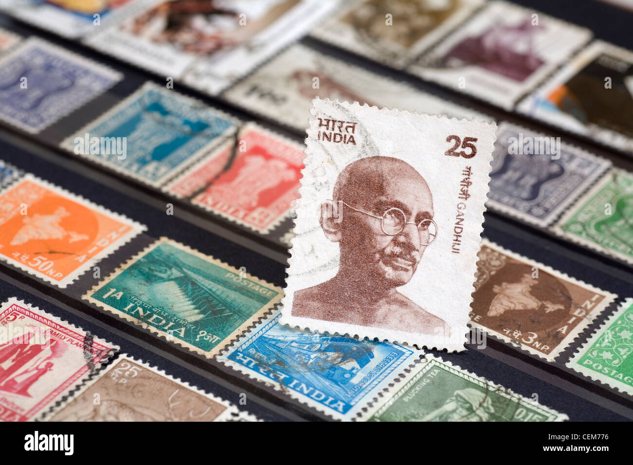 Indian postage stamp showing Ghandi - Stock Image