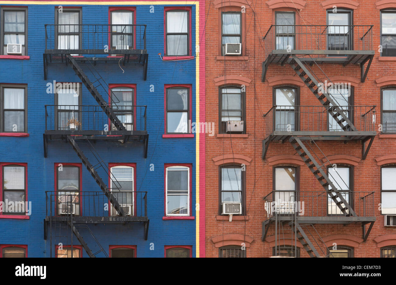 a colorful apartment building front in new york city ny usa stock