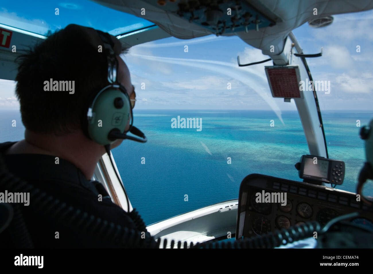Helicopter flight over the reef near Cairns. Great Barrier Reef Marine Park, Queensland, Australia - Stock Image