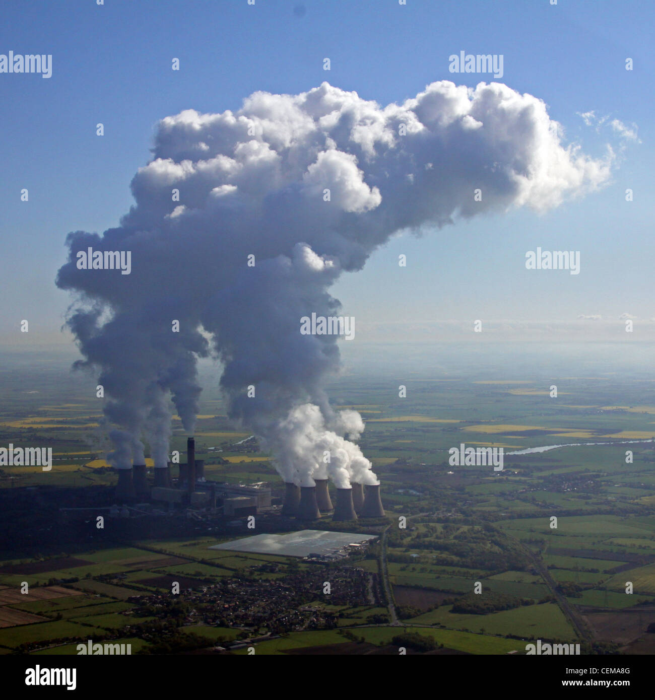 Aerial image of Drax Power Station, North Yorkshire - Stock Image