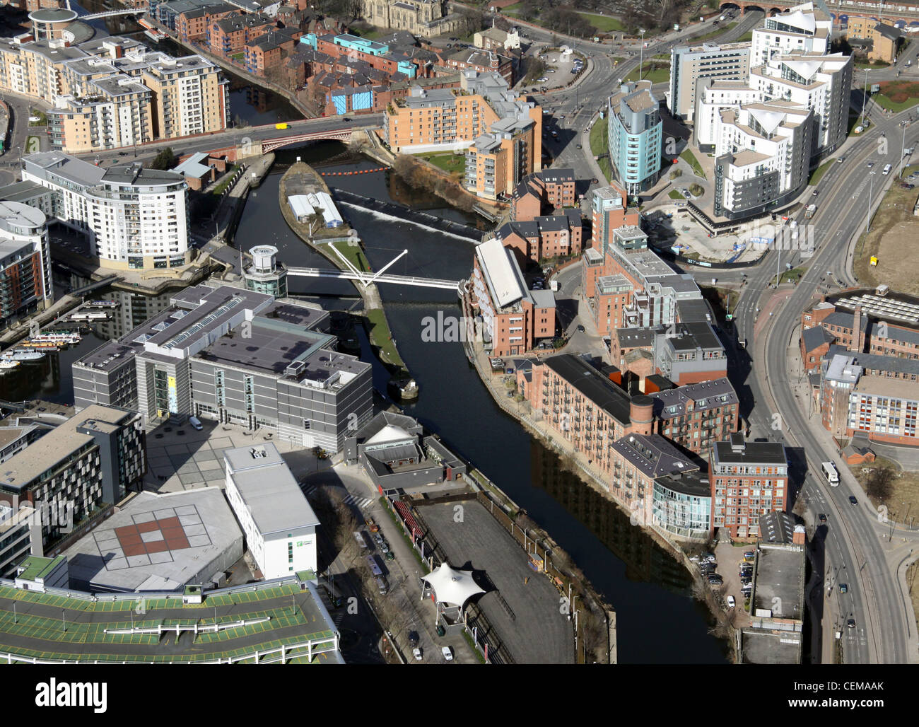 Aerial image of River Aire in Leeds City Centre - Stock Image