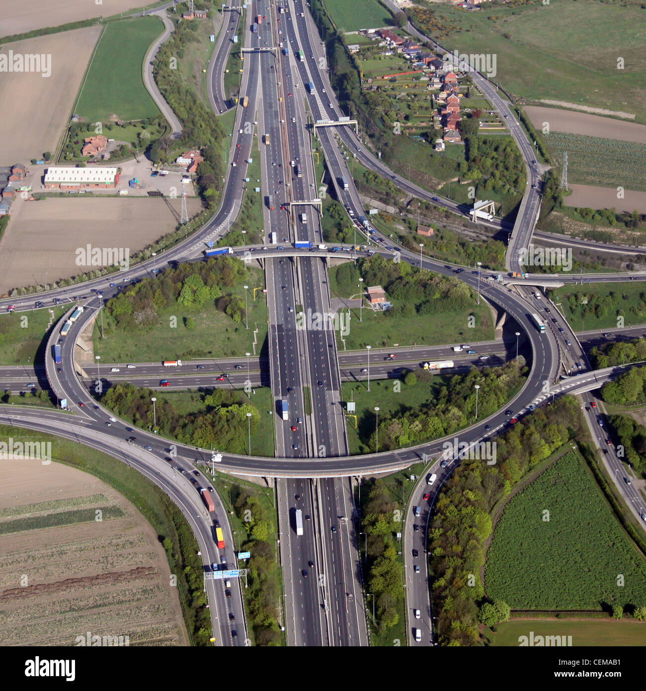 Aerial image of M1M62 motorway junction south of Leeds - Stock Image