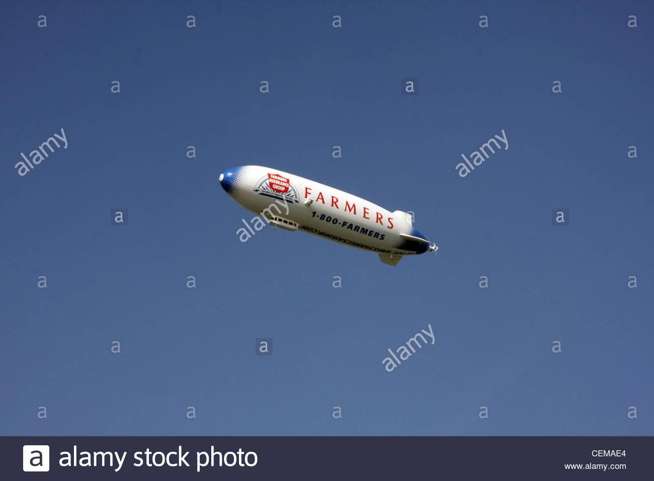Farmers Insurance advertising blimp airship - Stock Image