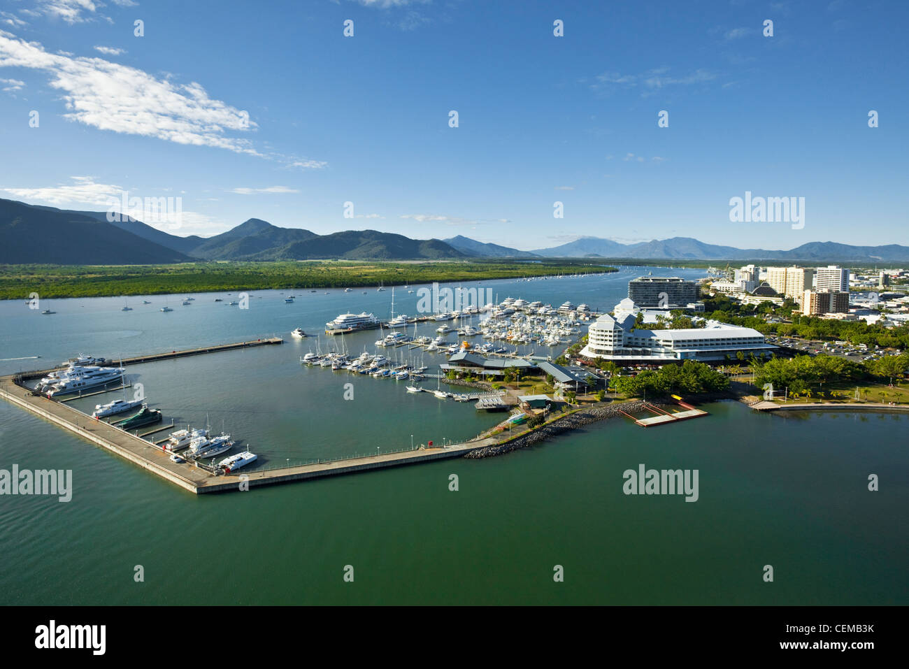 Aerial view of Marlin Marina with Trinity Inlet in background. Cairns, Queensland, Australia - Stock Image