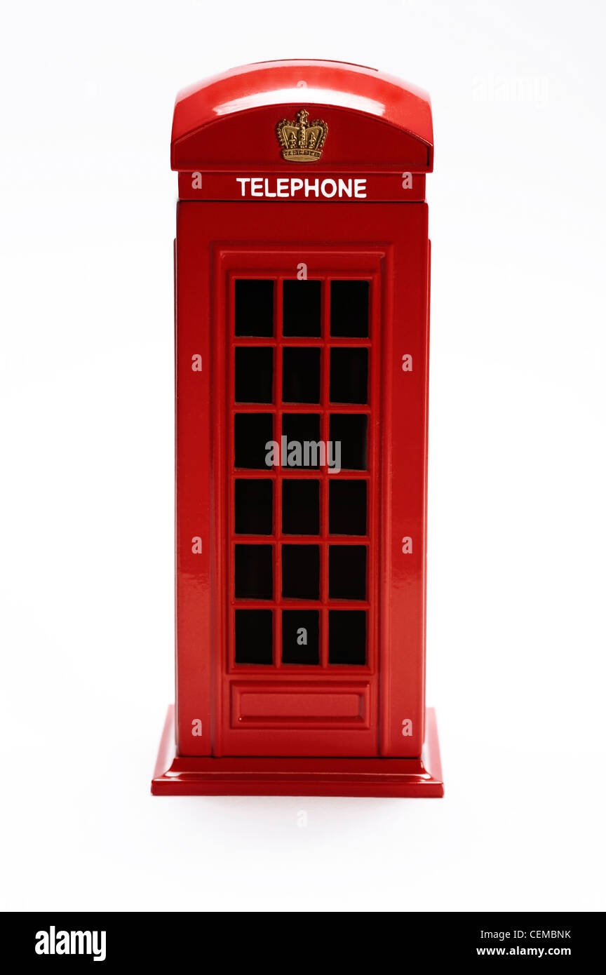 classic british telephone booth isolated on white background - Stock Image