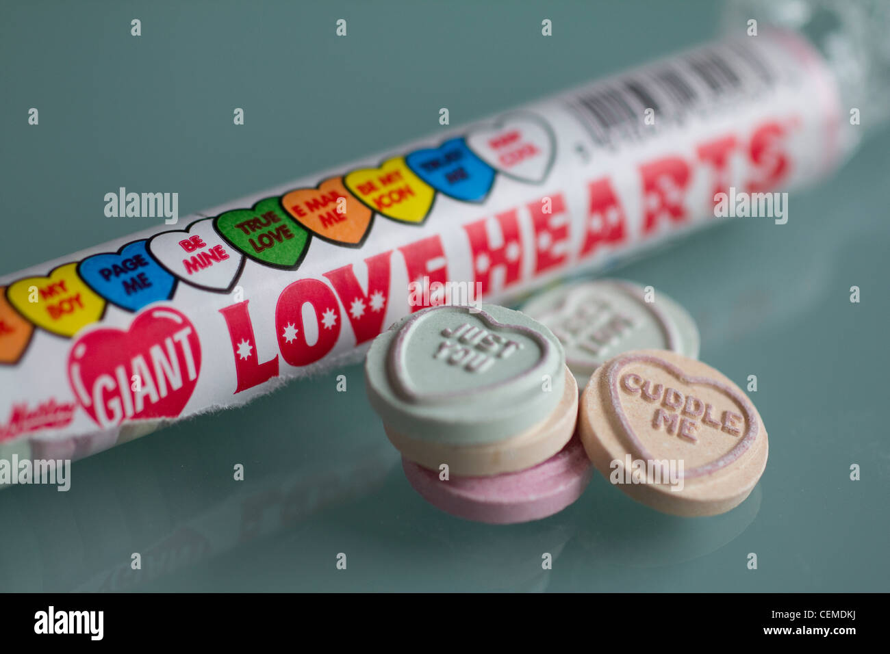 Swizzels Matlow Love hearts, sweets candy wrapper - Stock Image