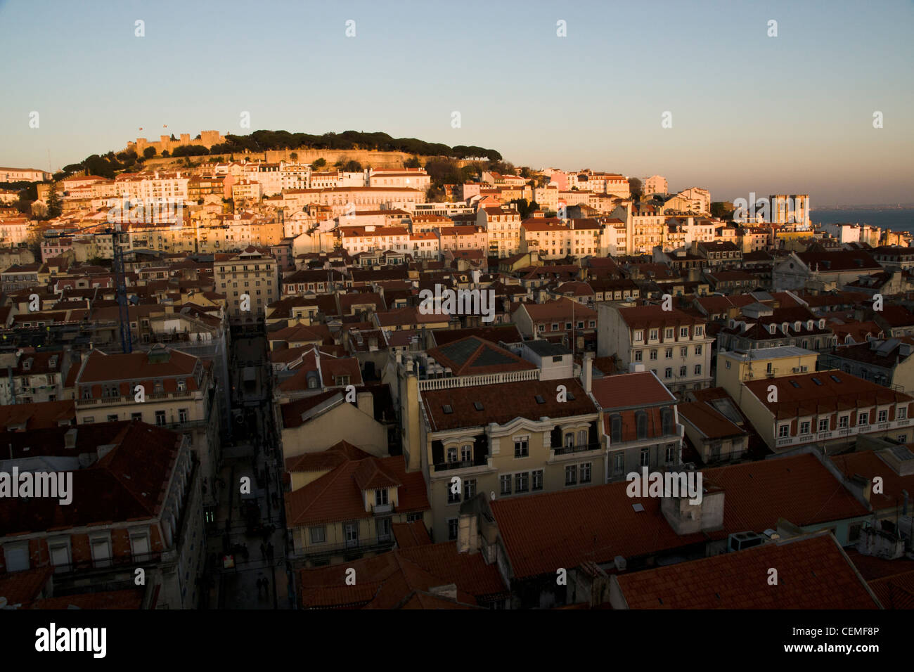 Last sunlight of the day at Alfama, the old moorish city. Lisbon, Portugal. - Stock Image
