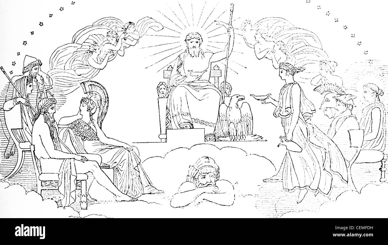 This scene from Book VIII in the Iliad shows Zeus, king of the gods, convening a council of the deities on Mount - Stock Image