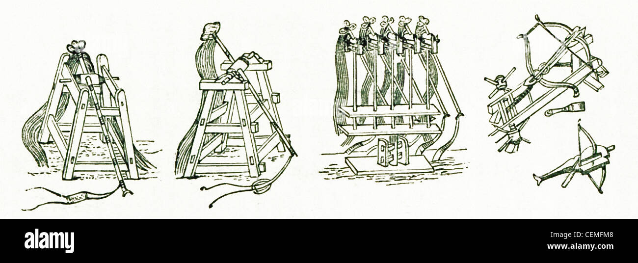 Depicted here are five different types of medieval Chinese artillery engines.This illustration is from the Travels - Stock Image