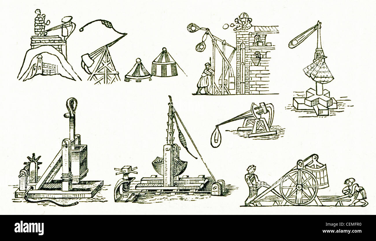 Depicted here are medieval Frank artillery engines. Frank refers to Germanic tribes of the Rhine region in early - Stock Image