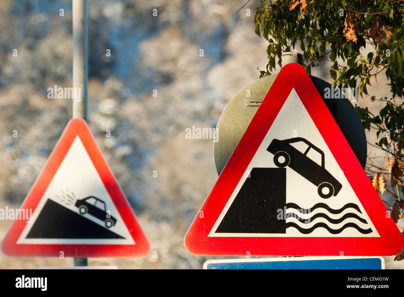 Warning Signs in the Lake District - Stock Image
