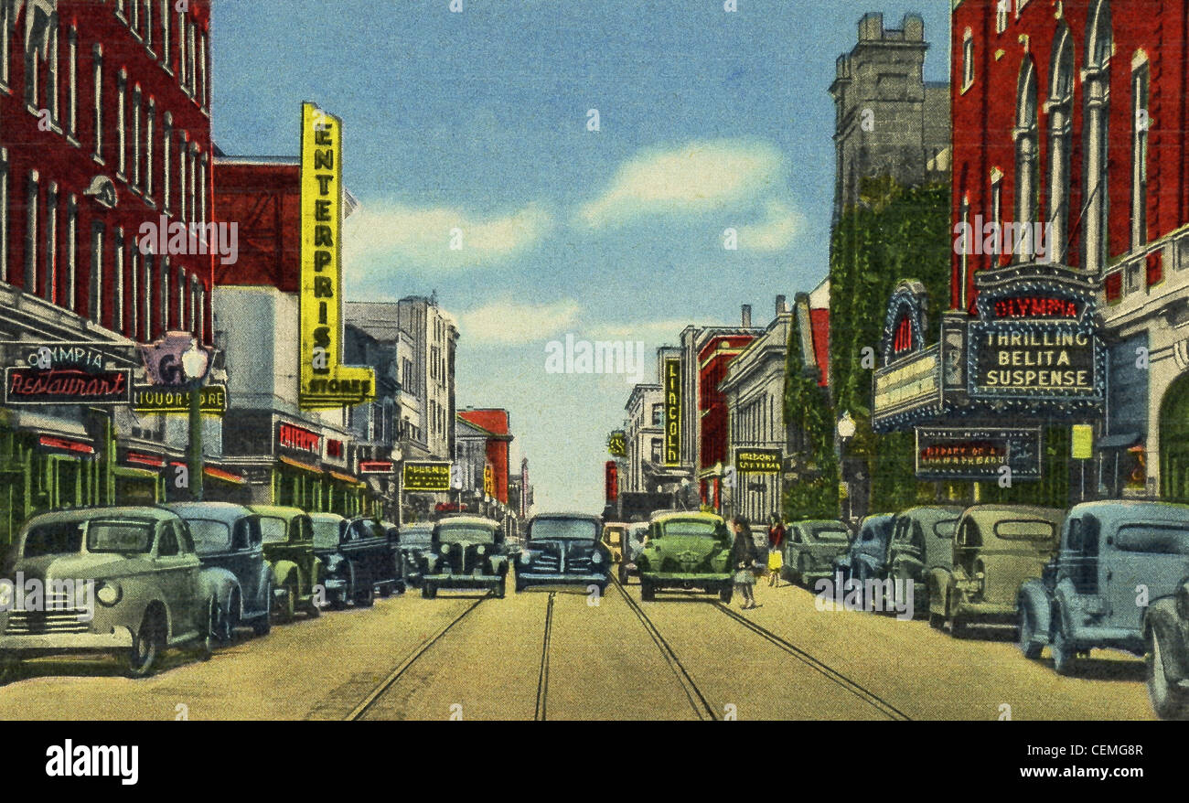 This 1940s postcard shows a main downtown street (Purchase) in New Bedford, Massachusetts, looking south from Olympia - Stock Image